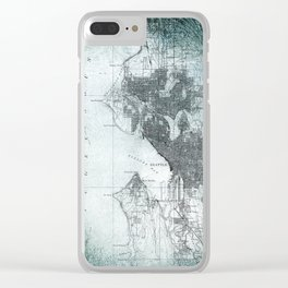 Vintage Seattle City Map Clear iPhone Case