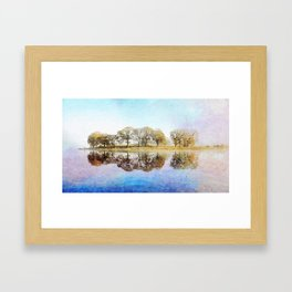 Esthwaite Morning Reflections, Lake District, Cumbria, England. Watercolor Painting. Framed Art Print