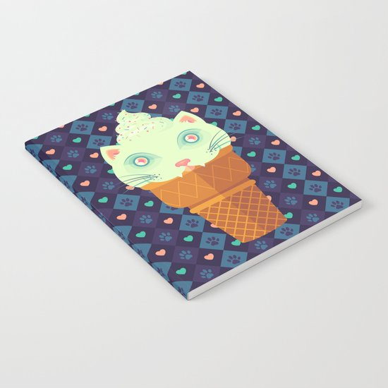 Strawberry-Mint Cat Notebook