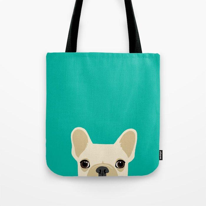French Bulldog Peek - Cream on Teal Tote Bag