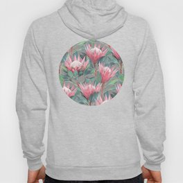 Pink Painted King Proteas on grey Hoody