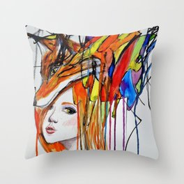 The Lady and the Fox Throw Pillow