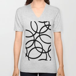 Interlocking Black Circles Artistic Design Unisex V-Neck