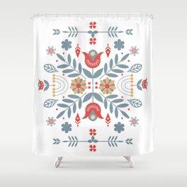 Scandinavian Folk Art Shower Curtain