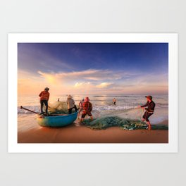 Fisherman Pulling in the Nets Art Print