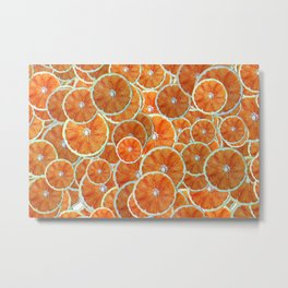 Orange slices arranged atop each other Metal Print