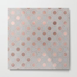 Rosegold simple pink metal foil polkadots on grey background 1 Metal Print