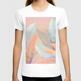 Vintage Tropical Fronds - Island Foliage Aged Pink Background T-shirt