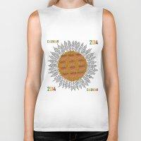 calendar Biker Tanks featuring Calendar 2014 - Sunflower by Julia Kisselmann