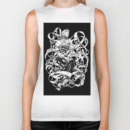 Lady in Belts Fantasy. Black Ink. Yury Fadeev. Biker Tank