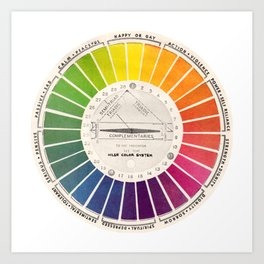Vintage Color Wheel - Art Teaching Tool - Rainbow Mood Chart Pride Kunstdrucke