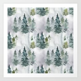 Dreamy Pine Forest in Soft Hues of Green and Gray Art Print