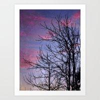Winter Silhoutte Candy Pink Clouds Art Print