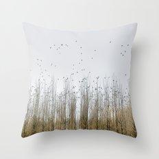 Wild Birds Flying. Foggy Sunrise Throw Pillow
