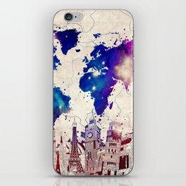 world map city skyline galaxy 2 iPhone Skin