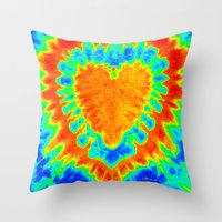 tye dye Throw Pillows featuring TYE DYE HEART by TMCdesigns