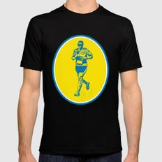 Marathon Runner Running Oval Retro Black SMALL Mens Fitted Tee