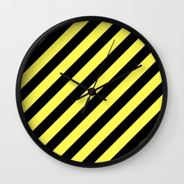 Diagonal Stripes Black And Yellow Wall Clock