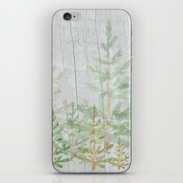 Pine forest on weathered wood iPhone Skin
