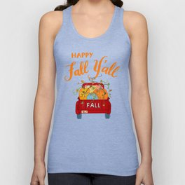 Happy Fall Y'all Vintage Pumpkin Truck Hand Lettered Hand Drawn Unisex Tank Top