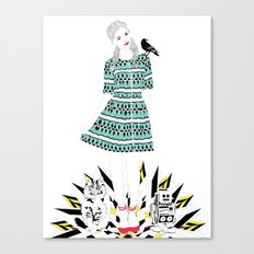 Oz: Dorothy, the Cowardly Kitty, the Tin Toy and the Scary Crow. Canvas Print
