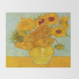 Sunflowers Oil Painting By Vincent van Gogh Throw Blanket