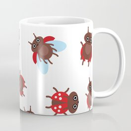 Funny insects ladybugs pattern on white background Coffee Mug
