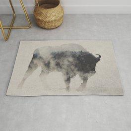 Bison In The Fog Rug