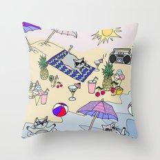 summer cats Throw Pillow