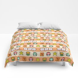 Pixel Game Retro (Orange) Comforters