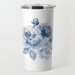 Blue and White Rose Bouquet Travel Mug