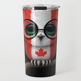 Baby Owl with Glasses and Canadian Flag Travel Mug
