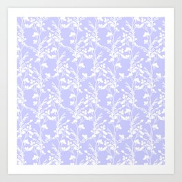 Flat Flower Silhouettes - Cut-Out Contrast in Periwinkle Purple and White Art Print