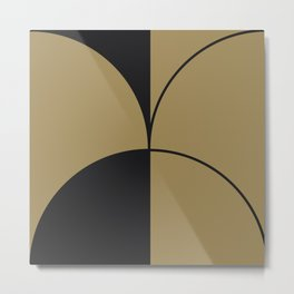 Diamond Series Round Solid Lines Charcoal on Gold Metal Print