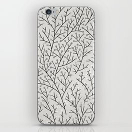 Berry Branches – Silver & Black iPhone Skin