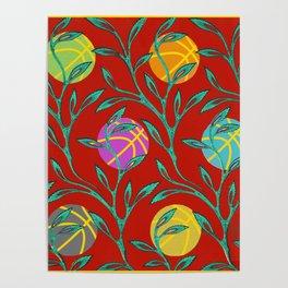 Basketball Flowers Poster