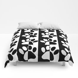 Black And White Dog Paws And Stripes Comforters