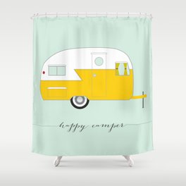 Yellow Happy Camper Shower Curtain