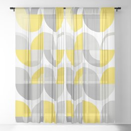 Wavy Bauhaus Yellow and Grey Pattern Sheer Curtain