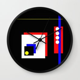 Traffic Jam - Abstract, minimalist, geometric, artwork in primary colours and black and white Wall Clock