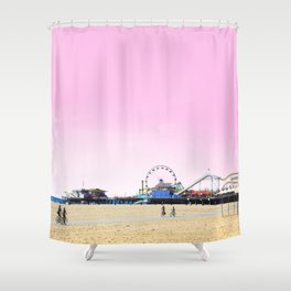 Santa Monica Pier with Ferries Wheel and Roller Coaster Against a Pink Sky Shower Curtain
