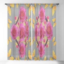 PINK ROSES & GOLDEN  BUTTERFLIES ON GREY ART Sheer Curtain