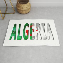 Algeria Word With Flag Texture Rug