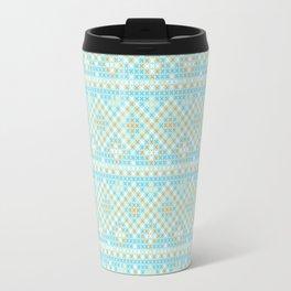 Vintage orange teal stylish cross stitch pattern Travel Mug