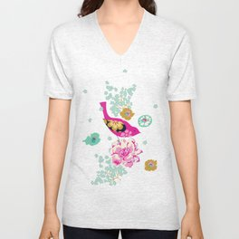 Birds and Blooms 1 Unisex V-Neck