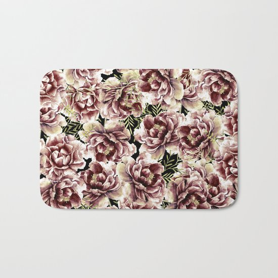 Vintage Flowers At Night #society6 Bath Mat