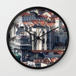 Lisbon Portugal Roof Tops Wall Clock