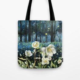 Magical Forest at Night, Fireflies and Helleborus Tote Bag