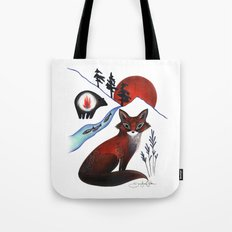 Fox on the Mountain Tote Bag