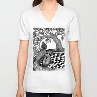 jazzberry V-neck T-shirts featuring The Golden Apples (1) by Judith Clay